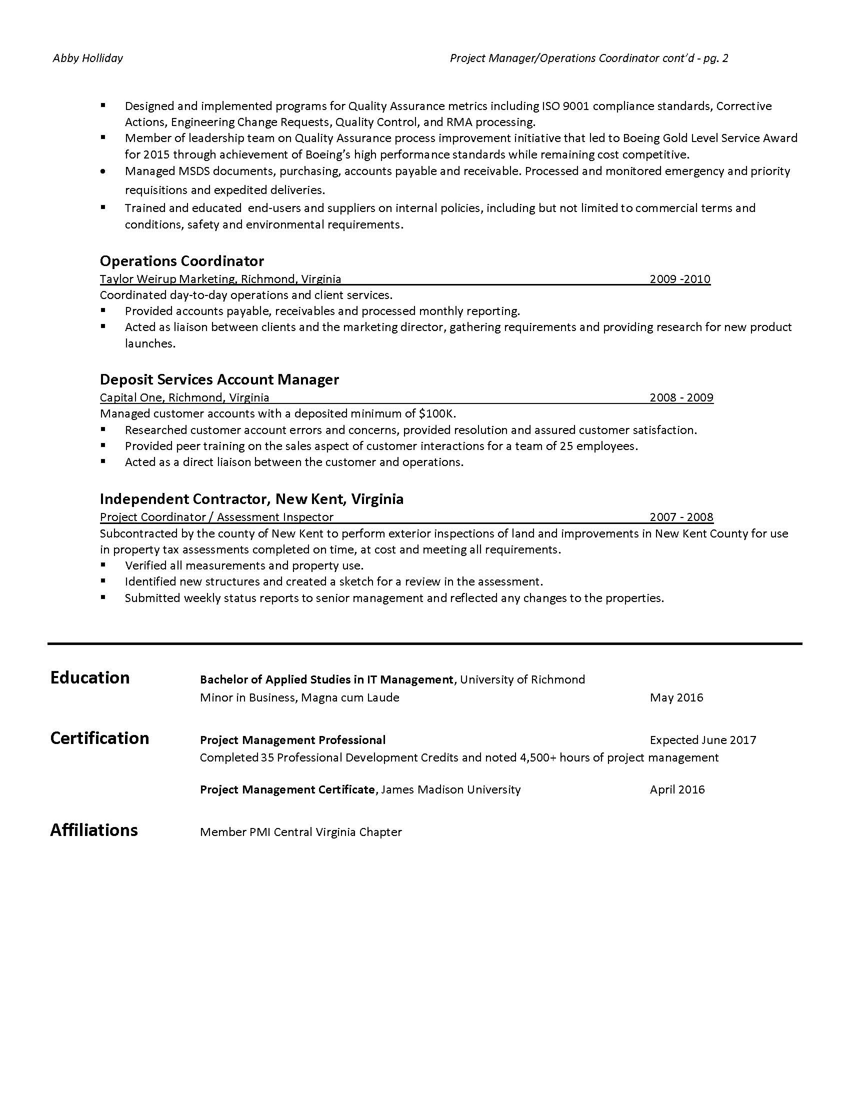 Project Manager Resume con't